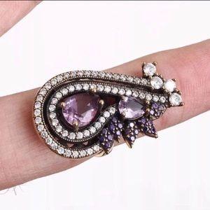 Sultan Ottoman Silver Amethyst Topaz Ring Size 7